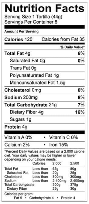 multi-grain tortilla nutrition