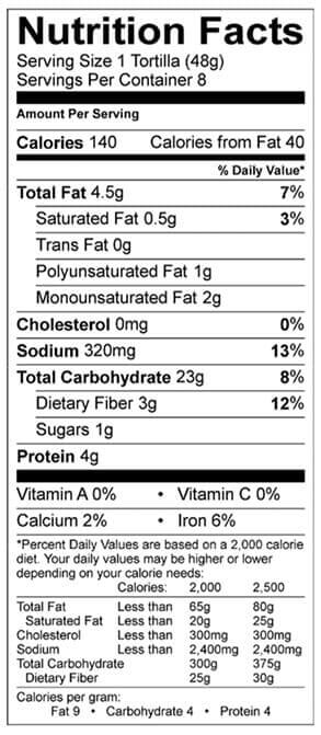 whole wheat tortillas nutrition info