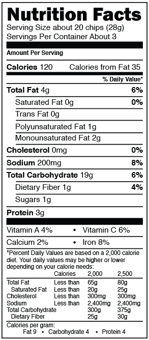 Maria and Ricardo's Pico de Gallo Tortilla Crisps nutrition information